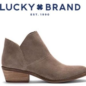 Lucky Brand Fahmida Tan Suede Booties Size 9.5